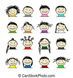 personas sonrientes, iconos, para, su, diseño