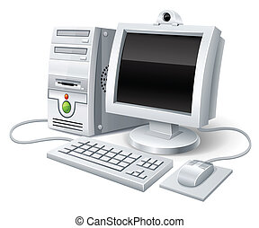 persondator dator, med, övervaka, tangentbord, och, mus