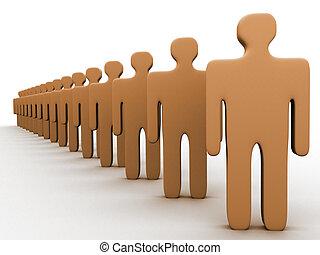 persone, 3d, fila