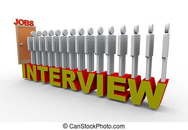persone, 3d, intervista, lavoro