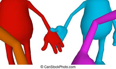 persone, 3d, tenere mani