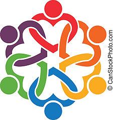 persone, 6., cuori, gruppo, interlacciato