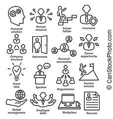 persone affari, amministrazione, icone, linea, stile