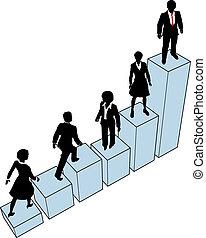 persone affari, arrampicarsi, stare in piedi, su, grafico