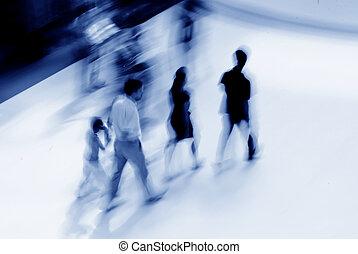 persone affari, astratto, atrio, offuscamento movimento, accorrere