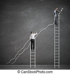 persone affari, aumento, il, statistica