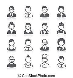 persone affari, avatar, icons.