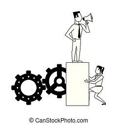 persone affari, avatars, nero, caratteri, bianco, cartone animato