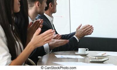 persone affari, battimano, a, meeti