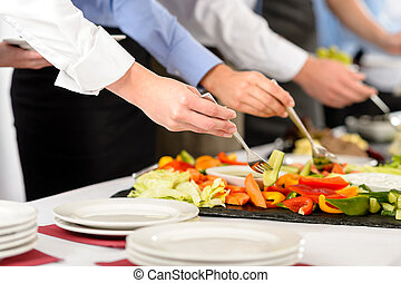 persone affari, cibo, buffet, ristorazione, prendere