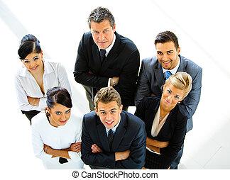 persone affari, cima, insieme, loro, mani, vista