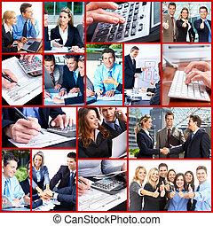persone affari, collage.