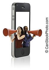 persone affari, con, megafoni