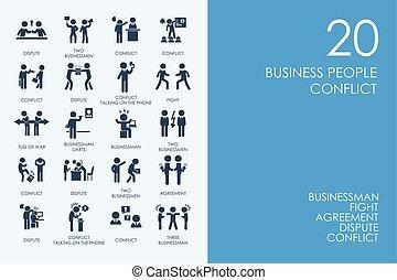 persone affari, conflitto, icone, set, biblioteca, criceto, blu