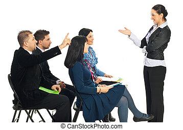 persone affari, conoscenza, a, seminario