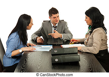 persone affari, detenere, discussione