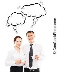 persone affari, detenere, uno, tazza caffè, in, il, mattina, con, pensare, nubi, sopra, isolato, fondo.