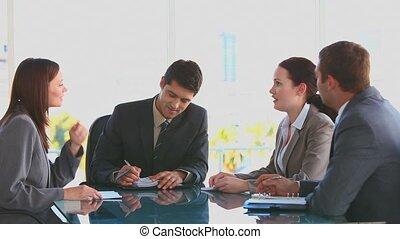 persone affari, durante, uno, riunione