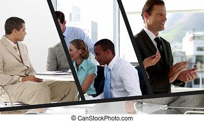 persone affari, fotomontaggio