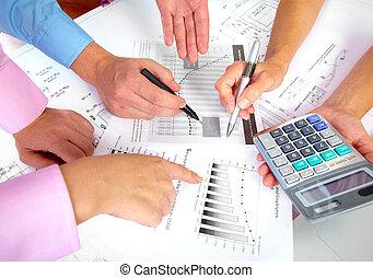 persone affari, gruppo, hands.