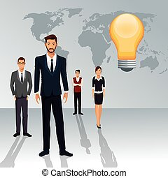 persone affari, idea, creativo, lavoro squadra, mondo, uggia