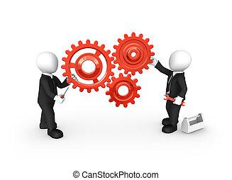 persone affari, ingranaggi, piccolo, attrezzi, rosso, 3d