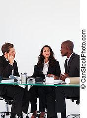 persone affari, interagire, in, uno, riunione