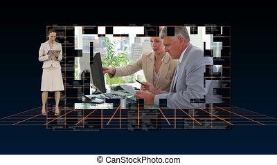 persone affari, lavorando, uno, comput