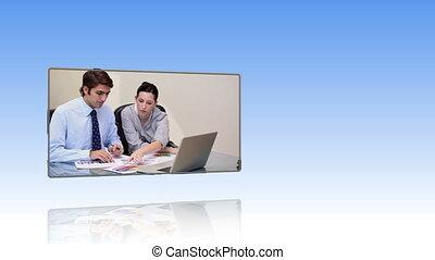 persone affari, lavorando, uno, laptop