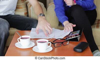 persone affari, lavorando, uno, tavola.