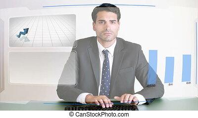 persone affari, lavorativo, con, tabelle