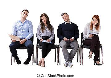 persone affari, lavoro, attesa, intervista, annoiato