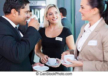 persone affari, mangiare caffè, rottura, durante, seminario