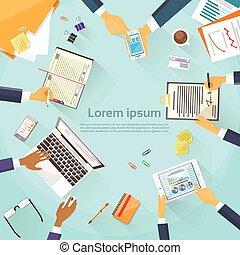 persone affari, mani, scrivania, posto lavoro, cima, angolo,...
