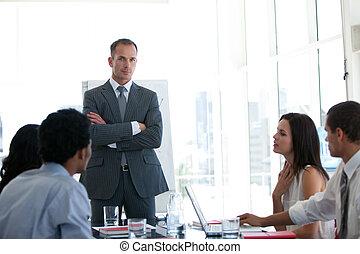 persone affari, parlare, circa, uno, affari nuovi, piano