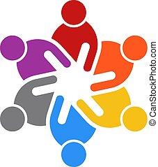 persone affari, persone., sei, vettore, logotipo, riunione