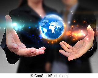 persone affari, presa a terra, affari, mondo