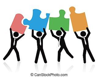 persone affari, puzzle, pezzi jigsaw, presa a terra, squadra
