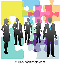 persone affari, puzzle, soluzione, umano, problema, risorse