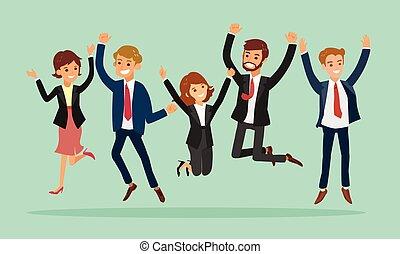persone affari, saltare, cartone animato, successo, festeggiare, illustrazione