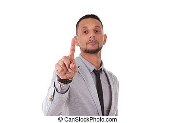persone affari, schermo, -, isolato, americano, toccante, sfondo nero, africano, bianco, trasparente, uomo