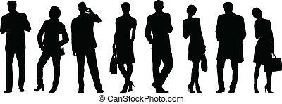 persone affari, silhouette