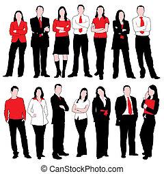 persone affari, silhouette, set
