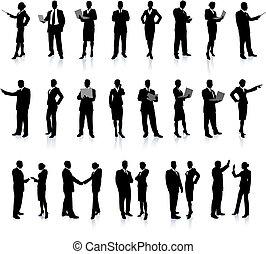 persone affari, silhouette, super, set