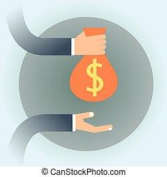 persone affari, soldi, dollaro, sacco mano, presa, segno
