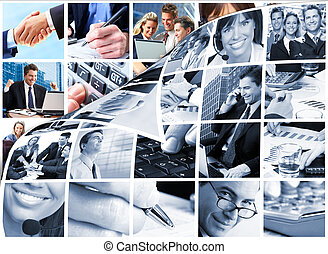 persone affari, squadra, collage.