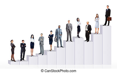 persone affari, squadra, e, diagram., isolato, sopra, sfondo bianco