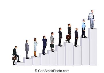 persone affari, squadra, e, diagramma