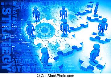 persone affari, standing, su, enigmi, strategia affari, concetto