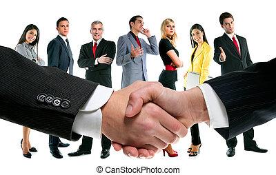 persone affari, stretta di mano, e, ditta, squadra
